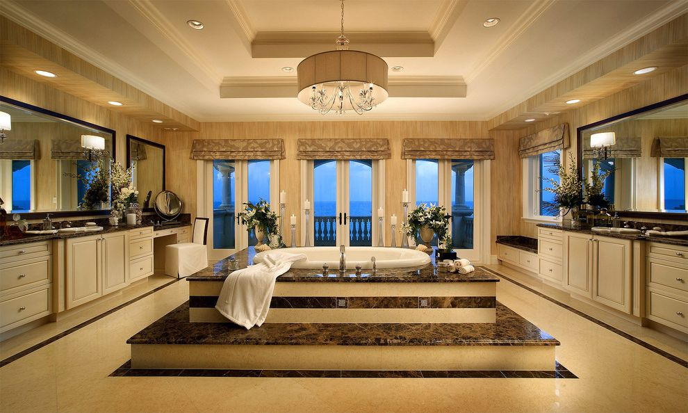 Rectangular Drum Shade Chandelier   Mediterranean Bathroom Also Balcony Balusters Chandelier Custom Cabinets Drum Shade Florida Photographer French Doors Kitchens Marble Steps Mirrors Photography Recessed Lights Roman Shades Soaking Tub Valance Vanity