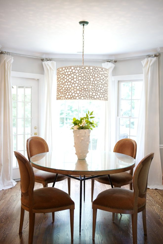 Rectangular Drum Shade Chandelier   Traditional Dining Room Also Centerpiece Chandelier Curtains Drapes Drum Pendant Floral Arrangement Round Dining Table Upholstered Dining Chairs White Wood Window Treatments Wood Flooring Wood Trim
