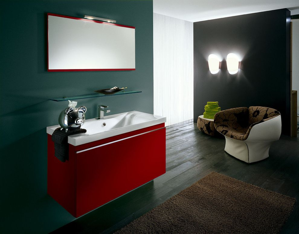 Red Lobster Chicago with Modern Bathroom  and Bath Brown Rug Contemporary Dark Wood Eclectic Floating Vanity Glass Shelf Gray Walls Modern Chair Modern Sink Red Vanity Sconces Wood Floors