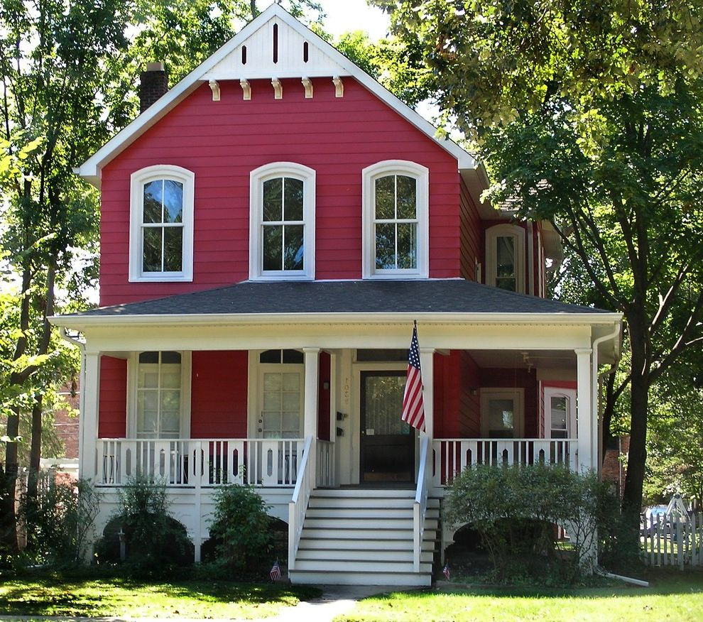 Red Lobster Chicago with Victorian Exterior  and Cottage Curb Appeal Exterior Exterior Trim Update Farmhouse Front Porch Porch Railing Red Red House Red Houses Red Paint Remodel Renew Saw Cut Balusters Siding Transform Exterior Wood