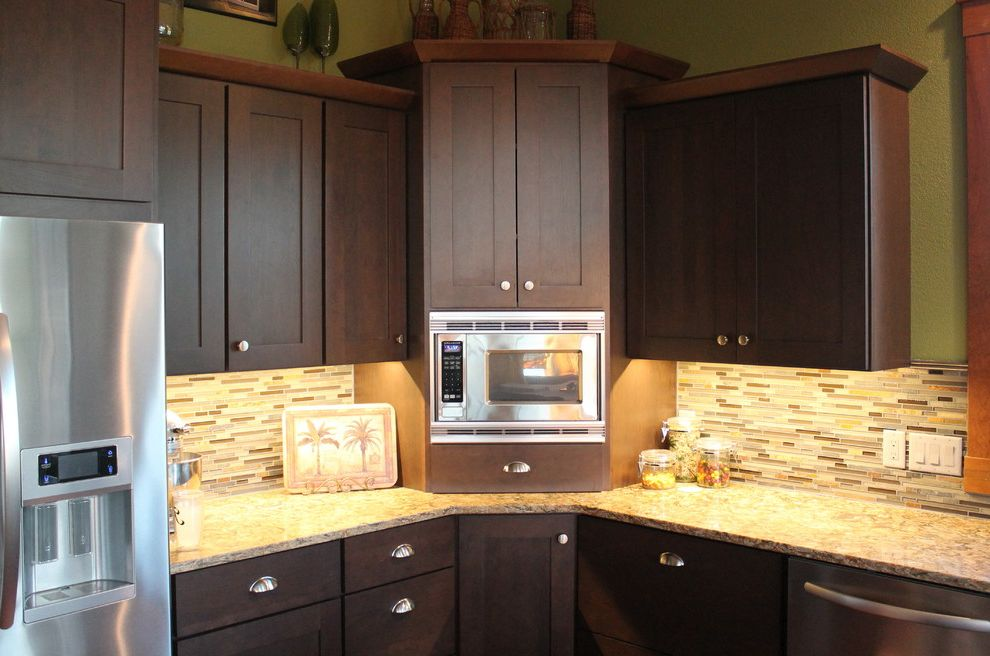 Refinish Kitchen Sink   Craftsman Kitchen  and Brown Cabinets Cherry Countertops Island Omega Cabinetry Quartz