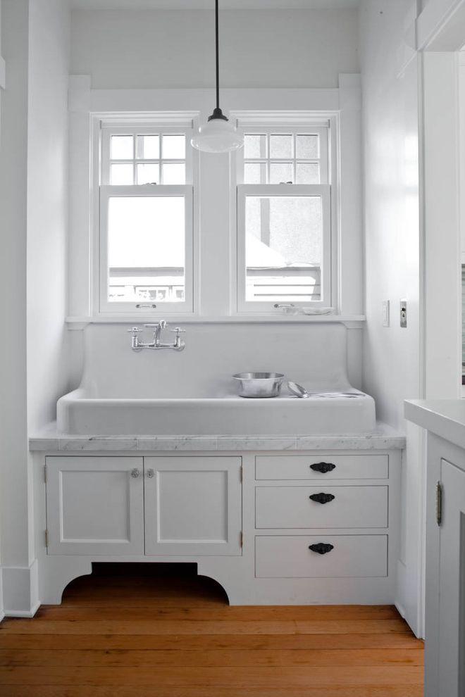 Refinish Kitchen Sink   Traditional Kitchen  and Cabinet Farm Sink Large Sink Marble Modern Mudroom Pendant Light Schoolhouse Light Vintage Vintage Sink White