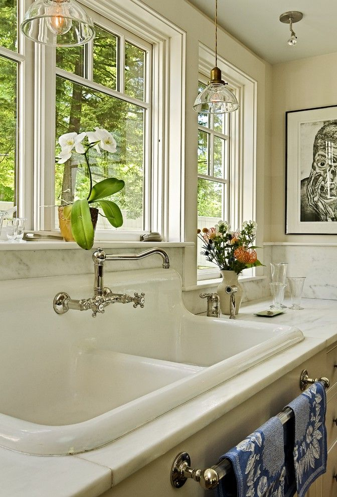 Refinish Kitchen Sink with Traditional Kitchen  and Apron Sink Country Kitchen Dish Towel Rack Farmhouse Sink Floral Arrangement Pendant Lighting Utility Sink Wall Mount Faucet White Kitchen