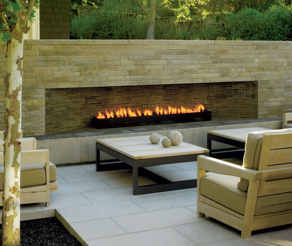 Removing Gas Fireplace   Contemporary Patio  and Birch Tree Neutral Colors Outdoor Cushions Outdoor Fireplace Patio Furniture Pavers Stone Fireplace Surround