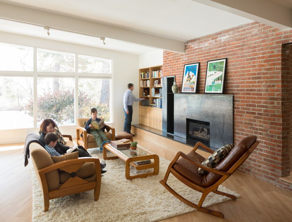 Removing Gas Fireplace   Midcentury Living Room  and Armchairs Brick Wall Built in Cabinetry Coffee Table Family Friendly Shag Rug Track Lighting Windows