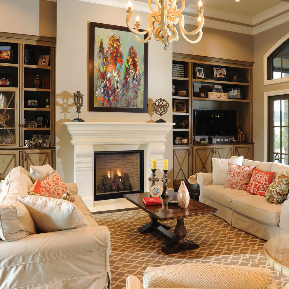 Removing Gas Fireplace   Traditional Living Room Also Built in Cabinets Chandelier Crown Molding Framed Art Gas Fireplace White Sofa