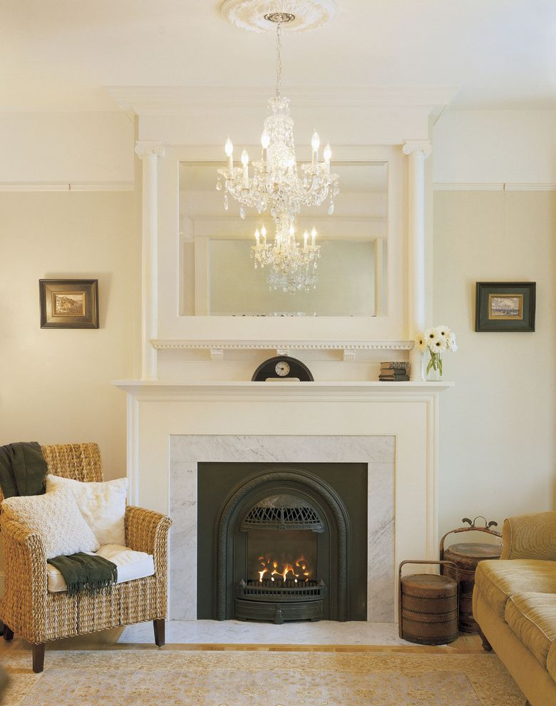 Removing Gas Fireplace   Victorian Living Room Also Chandelier Fireplace Mirror Mirror Above Fireplace Traditional Chandelier White Wicker Chair