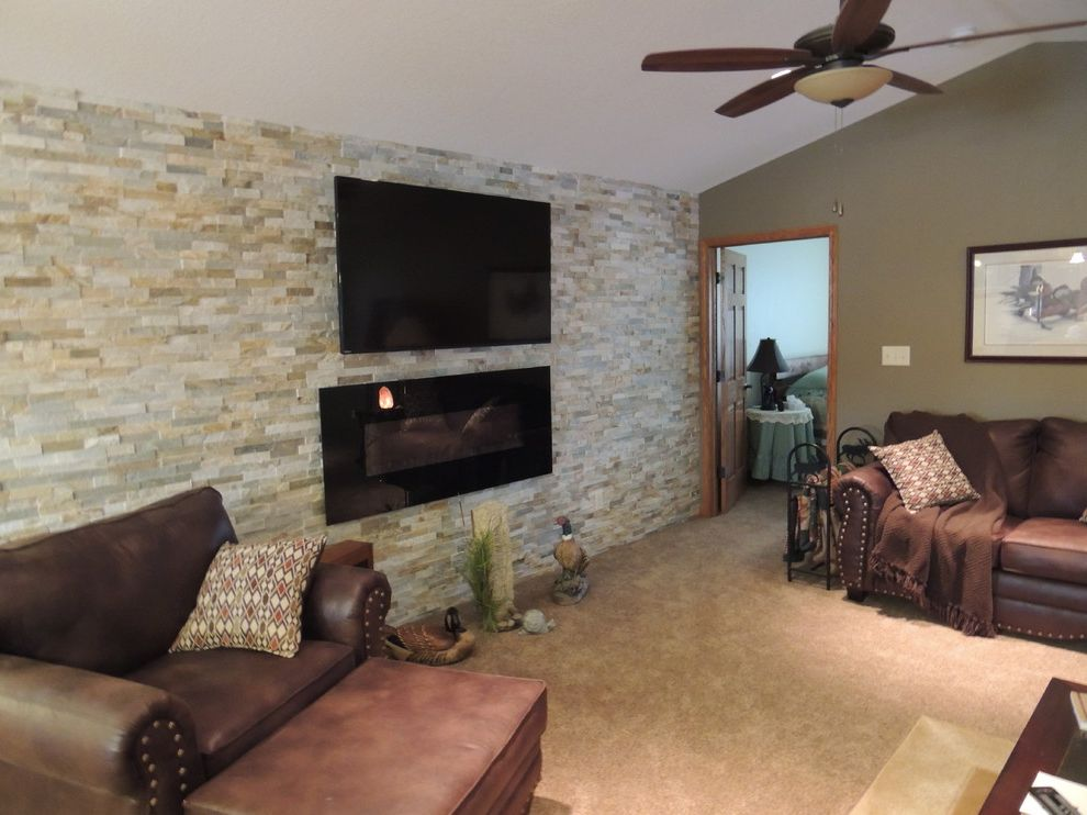 Removing Gas Fireplace with Transitional Family Room  and Transitional