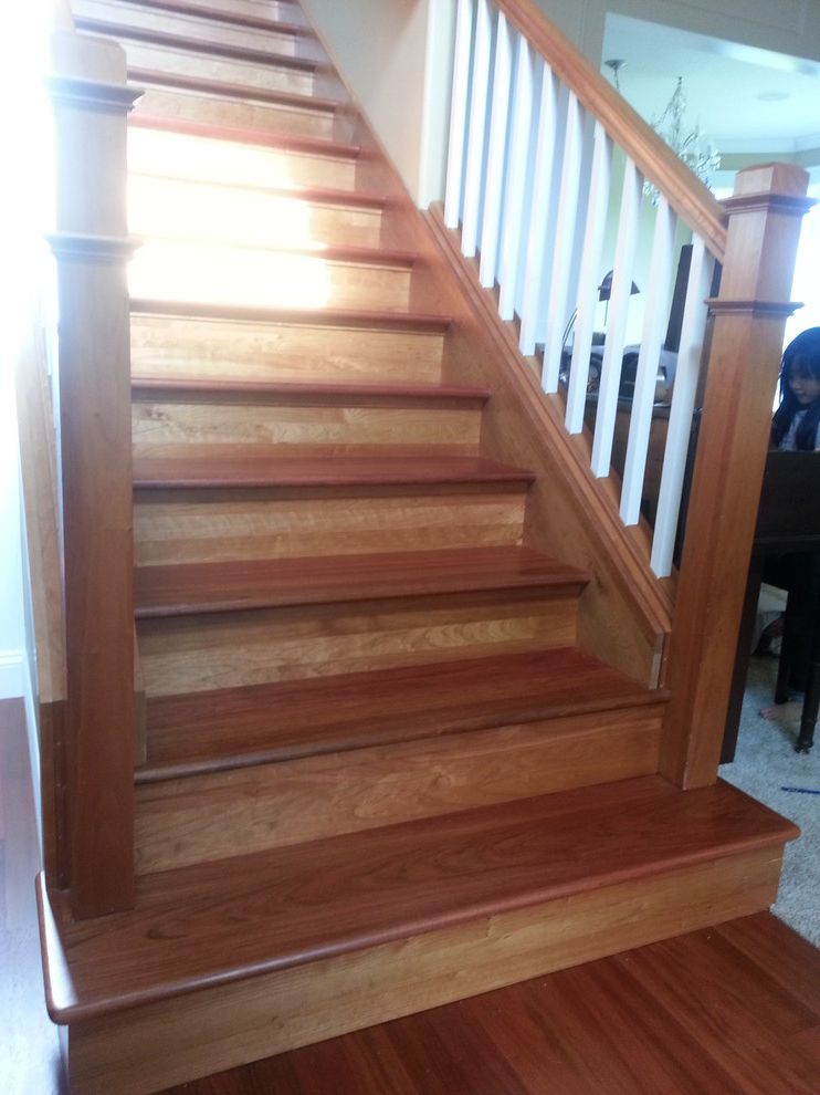 Replacing Carpet on Stairs   Traditional Spaces Also Replaced Carpeted Stairs with Brazilian Cherry Stairs to Mat