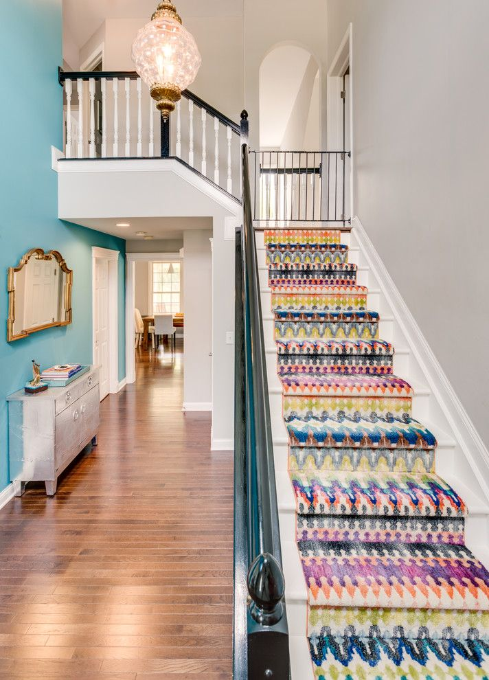 Replacing Carpet on Stairs   Transitional Staircase Also Black and White Colorful Decor Eclectic Entry Pops of Color Stair Runner