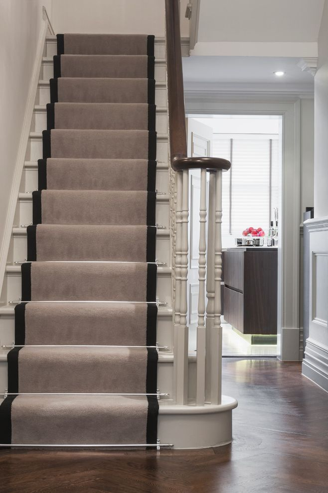 Replacing Carpet on Stairs with Traditional Staircase Also Handrail Runner Staircase Wainscoting White Stairs Wood Floor Wood Rail Wood Stairs