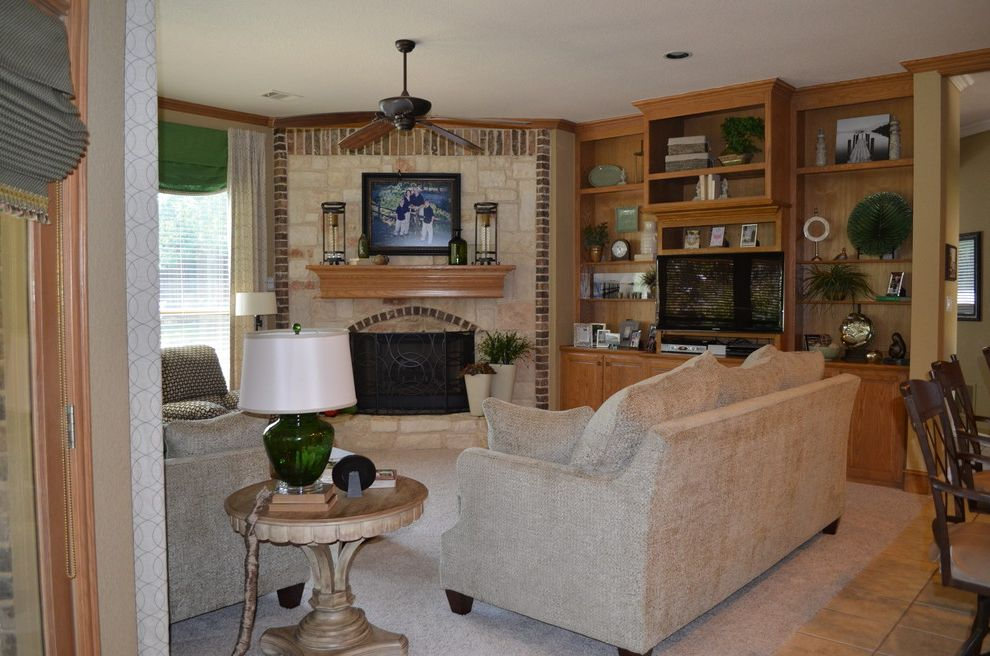 Reupholster Recliner   Traditional Family Room  and Custom Sofa Frieze Carpet Green Accessories Rock Fireplace Styled Bookcases Custom Valances and Panels