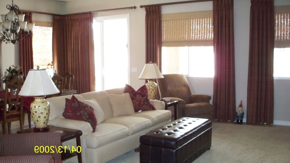 Reupholster Recliner   Transitional Family Room Also Custom Cut Area Rug Custom Draperies Reupholstered Recliner Woven Wood Roman Shades