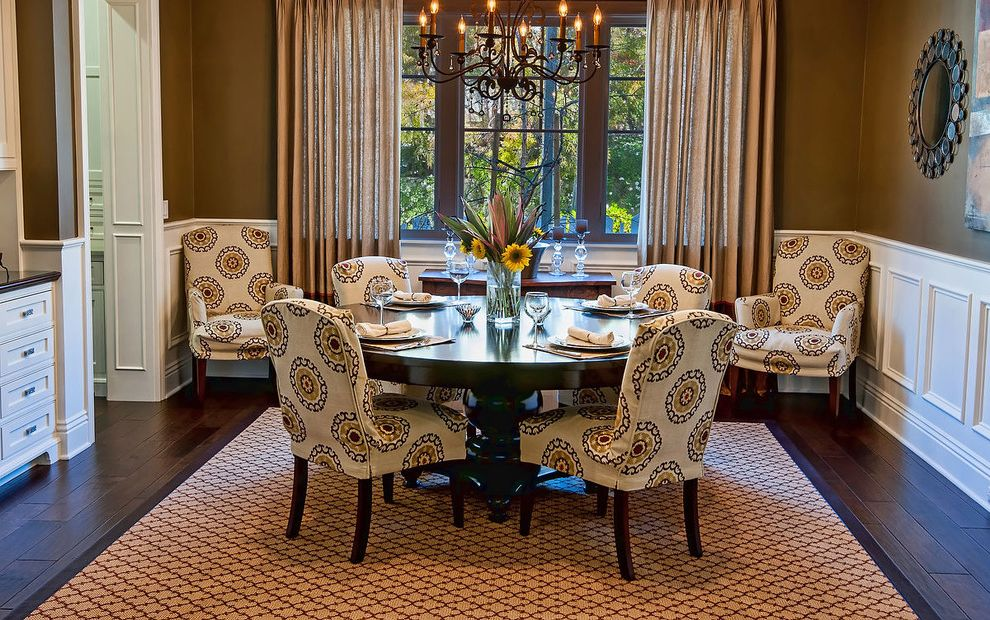Round Comfy Chair   Traditional Dining Room Also Brown Walls Chandelier Large Area Rug Parsons Chair Round Dining Table Round Mirror Sunflower Tan Curtains White Cabinets White Trim