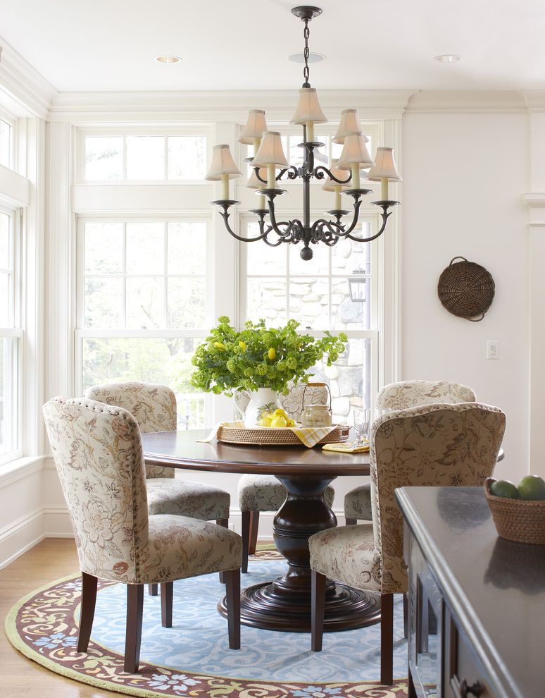 Round Comfy Chair   Traditional Dining Room  and Airy Bright Chandelier Cozy Custom Eat in Family Grand Inviting Kitchen Light Molding Moulding Transitional Warm Windows