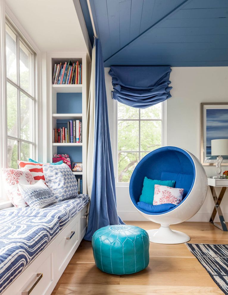 Round Comfy Chair with Transitional Bedroom Also Blue Painted Ceiling Bright Colors Bubble Chair Built in Bench Built in Shelves Moroccan Pouf Seat Cushions Storage Bench Window Window Seat Window Treatment