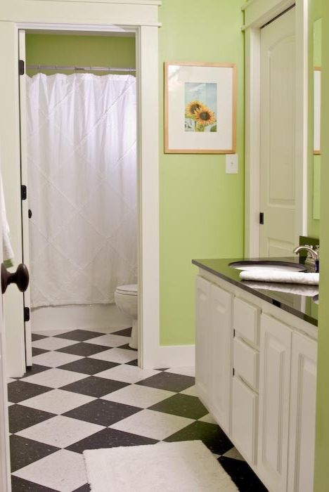 Rudd Furniture   Craftsman Bathroom Also Black and White Checkered Floor Green Walls Separate Shower Separate Stool White Vanity