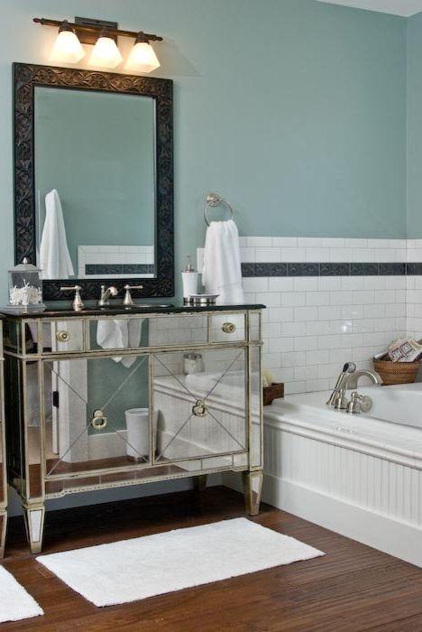 Rudd Furniture   Craftsman Bathroom  and Bead Board Blue Walls Dark Framed Mirror Dark Wood Floors Garden Tub Master Bath Mirrored Vanity White Trim
