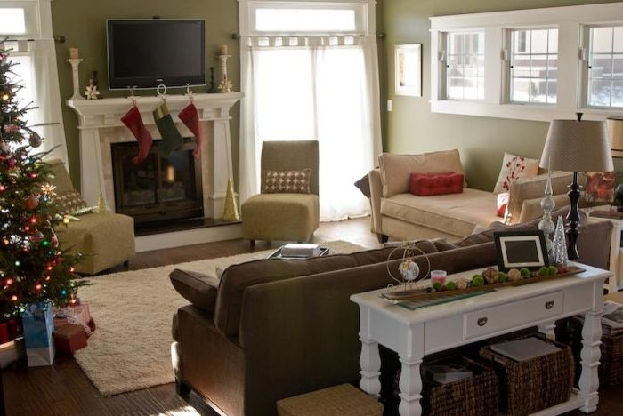 Rudd Furniture   Craftsman Family Room Also Brown Sofa Christmas Christmas Tree Craftsman Daybed Decorations Green Walls Holiday Mantel Slipper Chair Stockings White Table