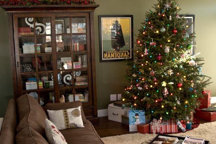 Rudd Furniture   Craftsman Family Room Also Brown Sofa Christmas Tree Dark Wood Bookcase Dark Wood Floor Decorations Green Walls Holiday Wood Cabinet