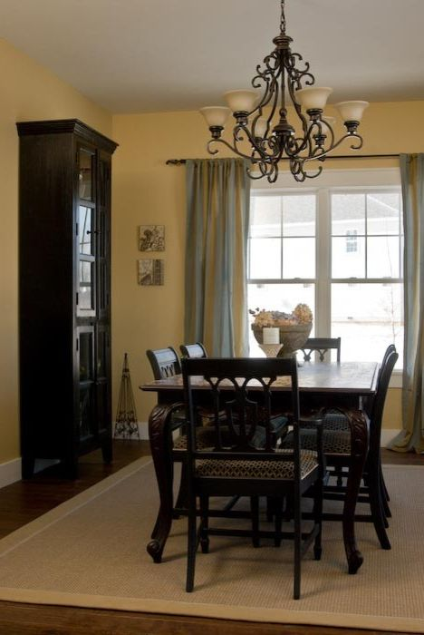 Rudd Furniture with Craftsman Dining Room Also Black Cabinet Dining Room Chandelier French Doors Gold Walls Striped Curtains White Trim Yellow Walls