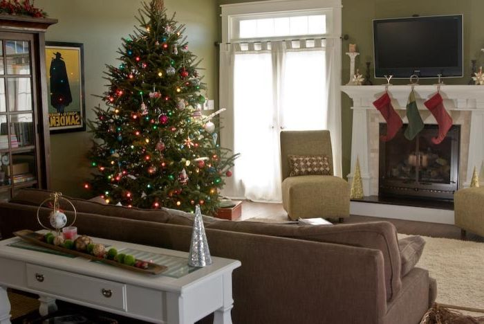 Rudd Furniture with Craftsman Family Room  and Brown Sofa Christmas Christmas Tree Craftsman Decorations French Doors Green Walls Holiday Mantel Slipper Chair Stockings White Curtains White Table