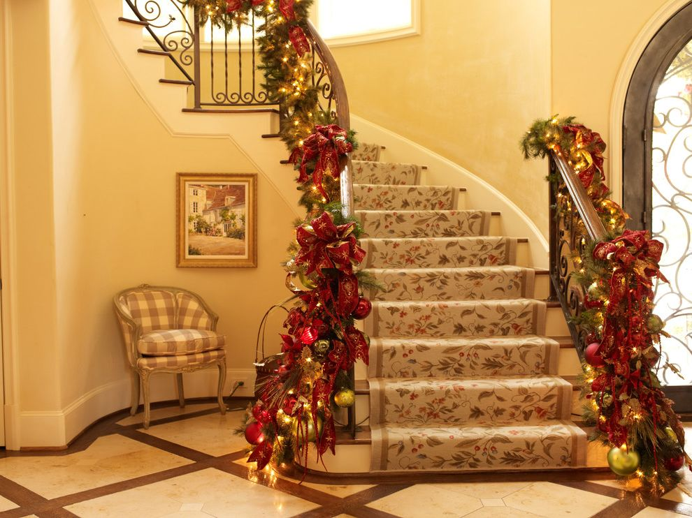 Runner Christmas Ornament with Traditional Staircase  and Chair Christmas Christmas Decoration Decoration Entry Handrail Holiday Iron Iron Railing Marble Floor Rug Stair Stone Floor Turned Stairs
