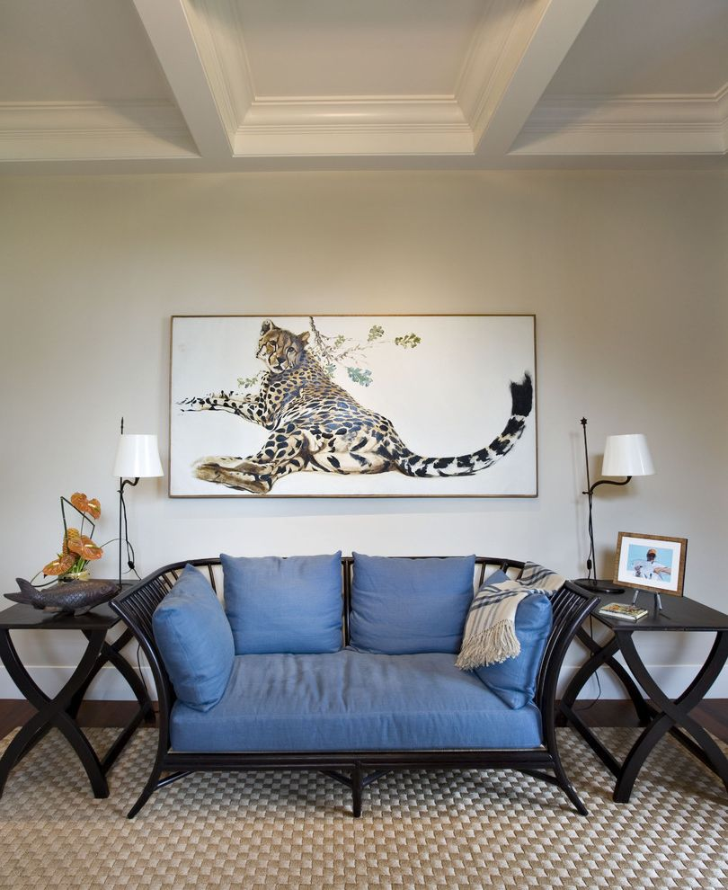 Russian Blue Cat Pictures   Eclectic Family Room  and Asian Blue Box Beam Ceiling Carpet Ceiling Box Beam Coach Side Table Sofa Tiger White
