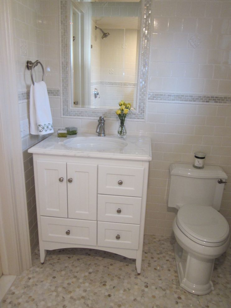 Rustoleum Peel Coat Review   Traditional Bathroom  and Bathroom Mirror Hexagonal Tiles Mosaic Tiles Subway Tiles Tile Flooring Towel Racks Vanity Wall Tile Design White Bathroom White Cabinets