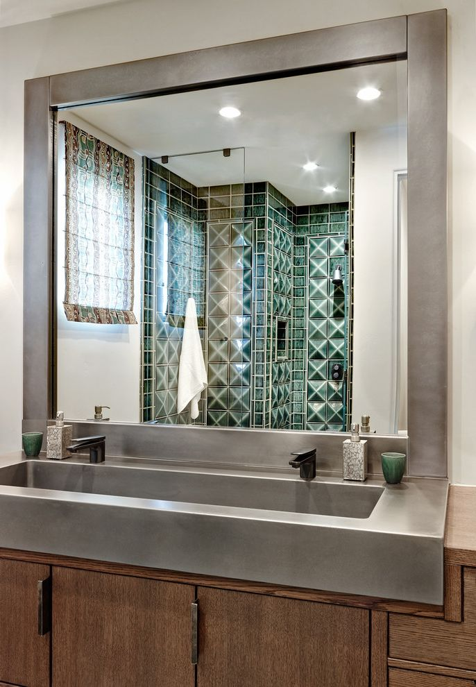 Ruvati Sinks   Mediterranean Bathroom Also Camelback Mountain Colorful Framed Mirror Gray Countertop Green Textured Tile Luxury Recessed Lighting Single Handle Faucet
