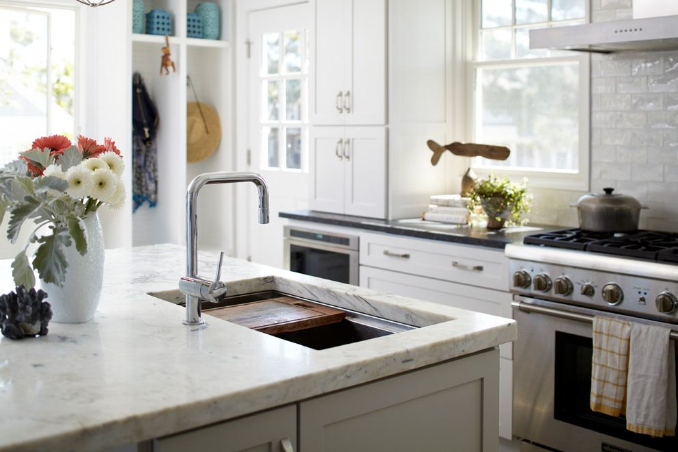 Ruvati Sinks with Beach Style Kitchen Also Beach House Cubbies Dark Counters Granite Counters Honed Counter Tops Kitchen Modern Hood Open Shelves Shaker Doors Sink with Cutting Board Subway Tile Wall Shelves White Tile
