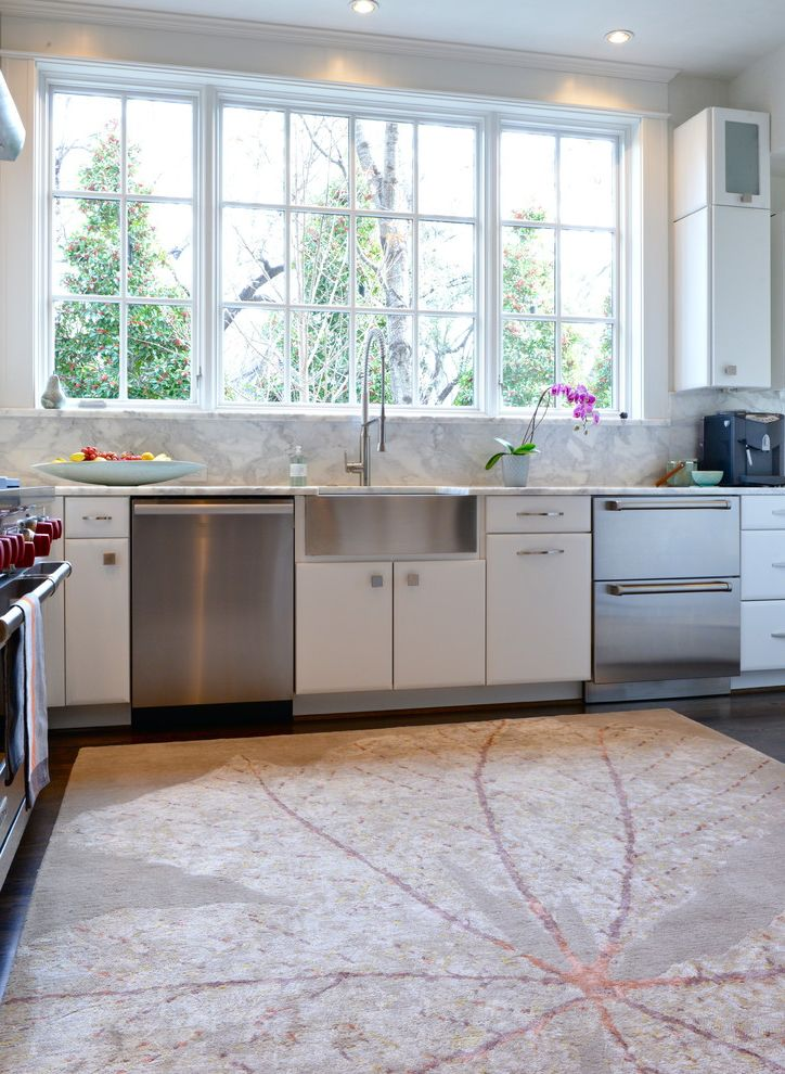 Ruvati Sinks with Contemporary Kitchen  and Chef Kitchen Contemporary Kitchen Dishwasher Drawers Muntins Stainless Steel Stainless Steel Apron Sink Tall Narrow Upper Cabinets White Flat Panel Cabinets White Kitchen Windows Wolf Stove