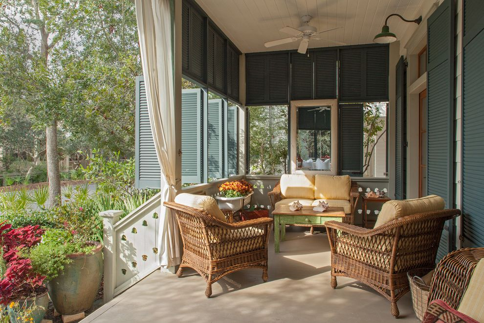 San Benito Shutters with Beach Style Porch Also Barn Lights Ceiling Fan Louvered Shutters Wicker Furniture