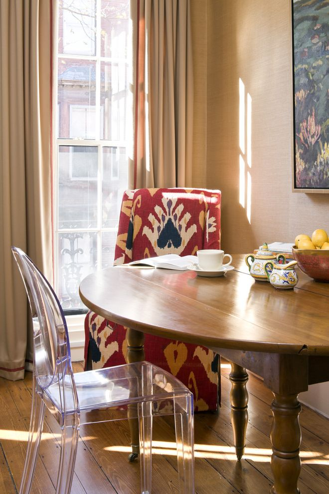 See Through Chairs   Eclectic Kitchen  and Breakfast Breakfast Nook Curtains Drapes Ghost Chair Ikat Kitchen Table Round Dining Table Upholstered Dining Chair Wall Art Wall Decor Wallcoverings Window Treatments Wood Flooring