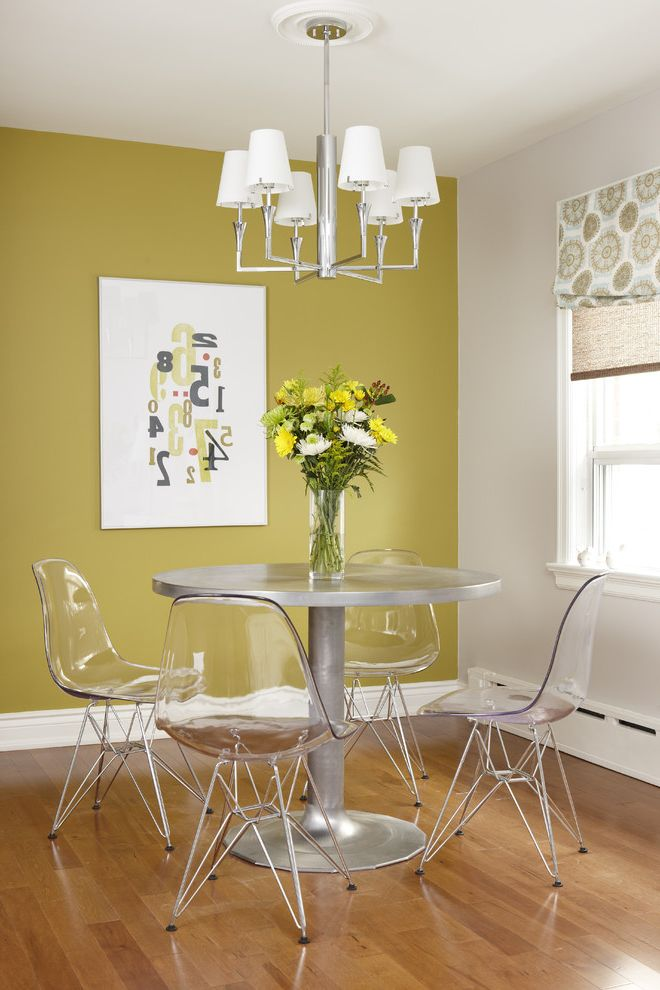 See Through Chairs   Modern Dining Room Also Acrylic Dining Chair Glass Vase Graphic Art Metallic Dining Table Number Art Patterned Roman Shade Silver Chandelier White Baseboard White Wall Wood Floor Yellow Accent Wall Yellow Wall