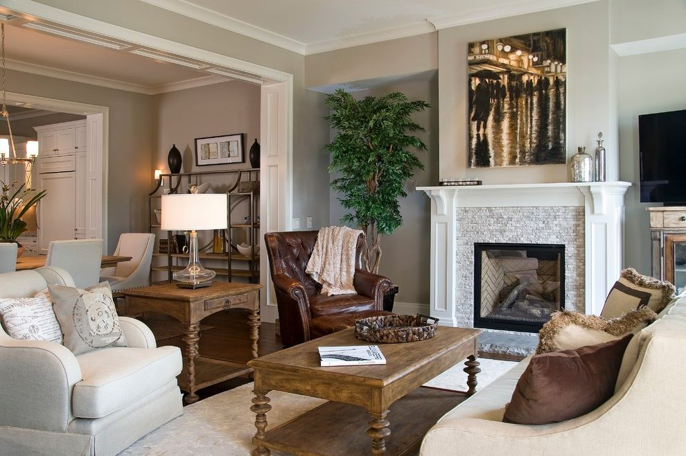 Sherwin Williams Lexington Sc with Transitional Living Room Also Corbels Crown Molding Dark Brown Leather Armchair Fireplace Light Gray Walls Mantel Artwork Pretty Fireplace Surround Soffit Transitional Turned Legs White Fireplace Mantel White Trim