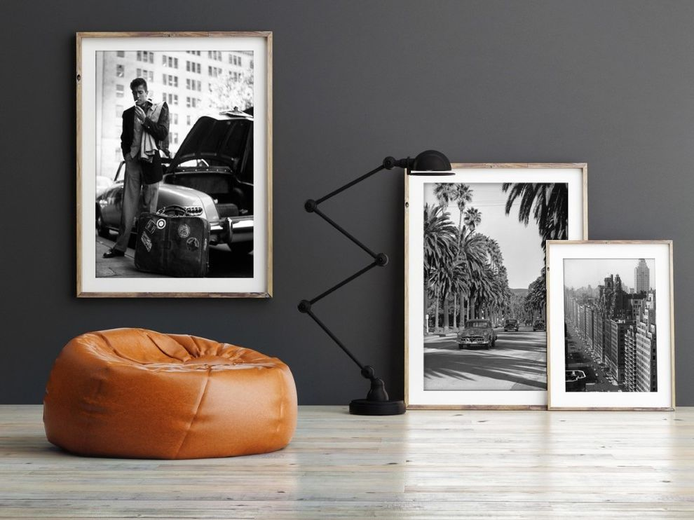 Slim Aarons Prints    Spaces Also 1950s 1960s Black White Black Lamp Contemporary Artwork Custom Framing Focal Point Gallery Industrial Leather Chair Living Room Modern Photography Slim Aarons