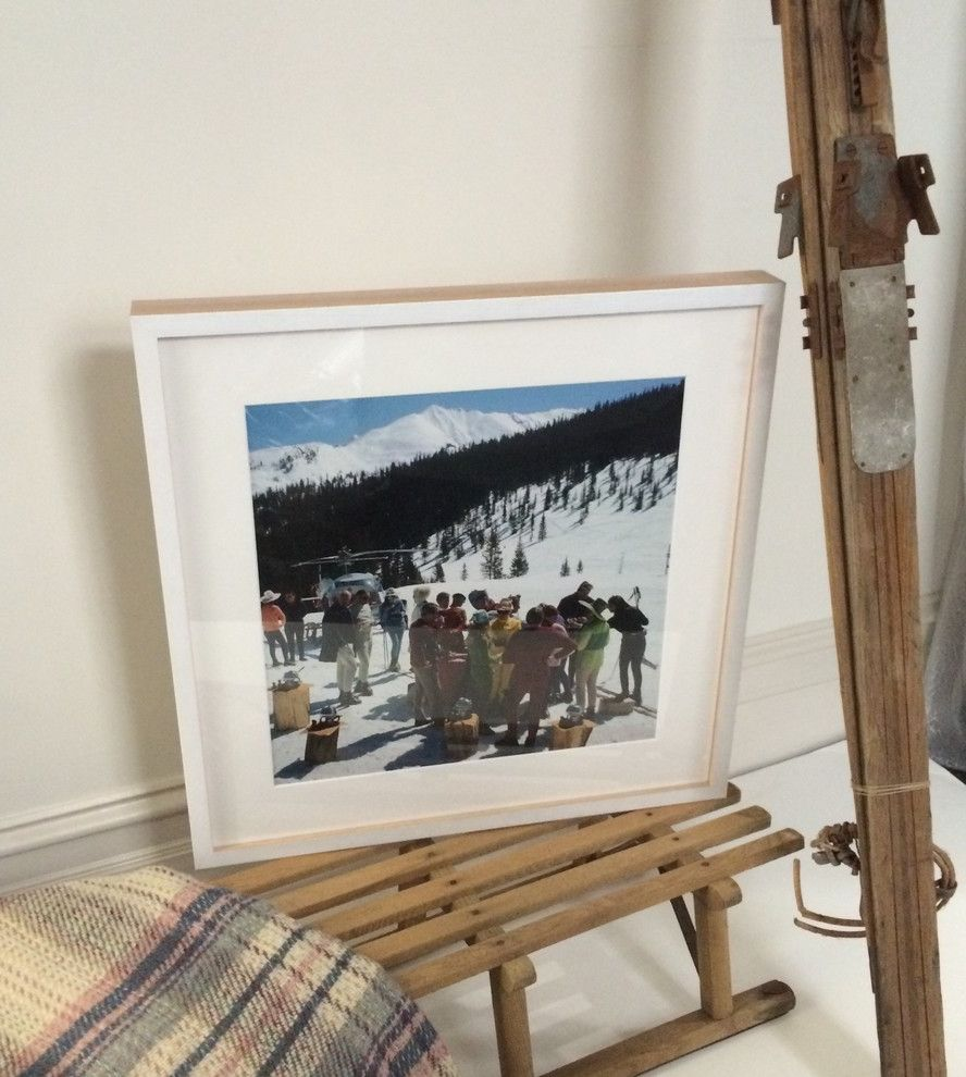 Slim Aarons Prints    Spaces  and Custom Framing Mountains Skiing Slim Aarons Snowmass Picnic Timber White Frame