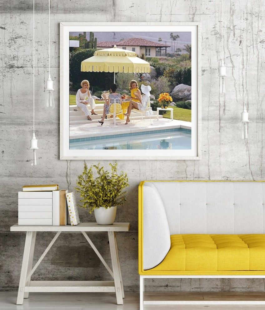 Slim Aarons Prints with  Spaces  and 1950s 1960s 1970s Contemporary Artwork Custom Framing Industrial Lighting Leather Couch Poolhouse Slim Aarons White Frame White Timber Furniture Yellow