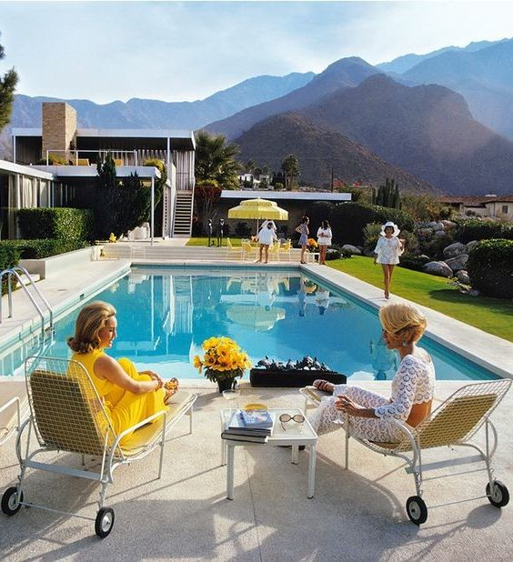 Slim Aarons Prints with  Spaces  and 1950s 1960s 1970s Contemporary Artwork Custom Framing Poolhouse Slim Aarons Yellow