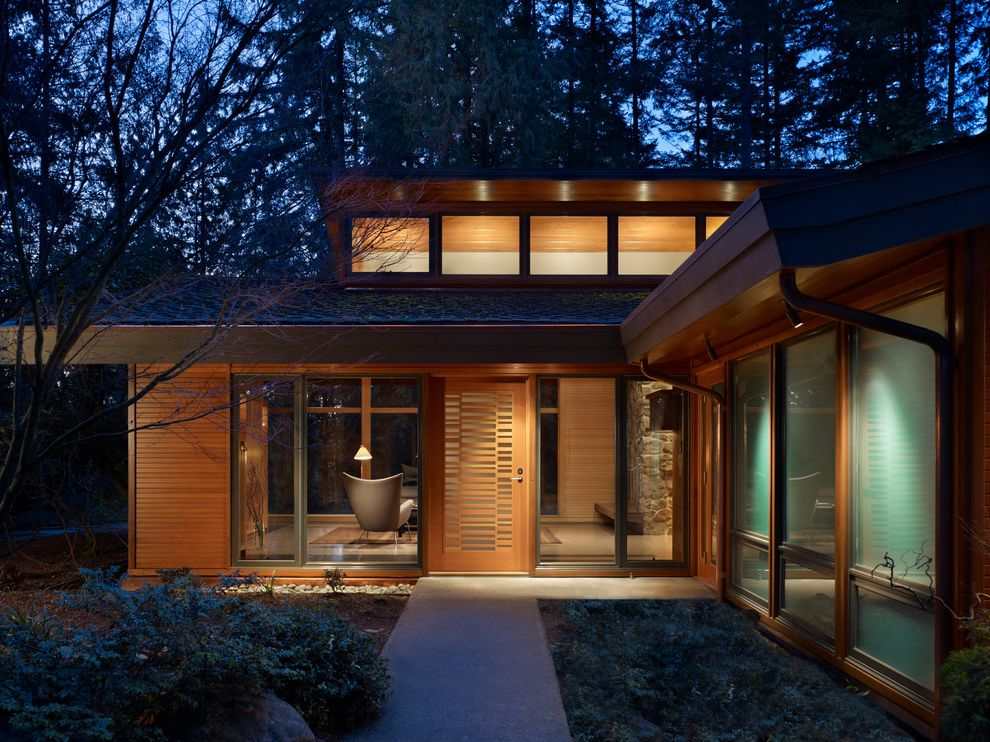 Smart Glass Seattle   Midcentury Entry Also Frosted Glass Glass House Glass Wall Night Lighting Outdoor Lighting Oversized Windows Picture Window Stone Unique Front Door Wood Exterior Wood Siding