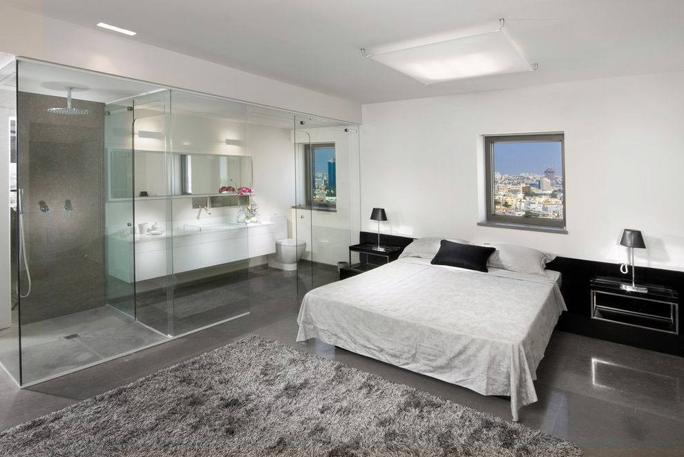 Smart Glass Seattle with Contemporary Bedroom Also Area Rug Bedside Tables Black and White Concrete en Suite Floating Cabinet Floating Nightstands Glass Gray Open Bath Shag View White Walls