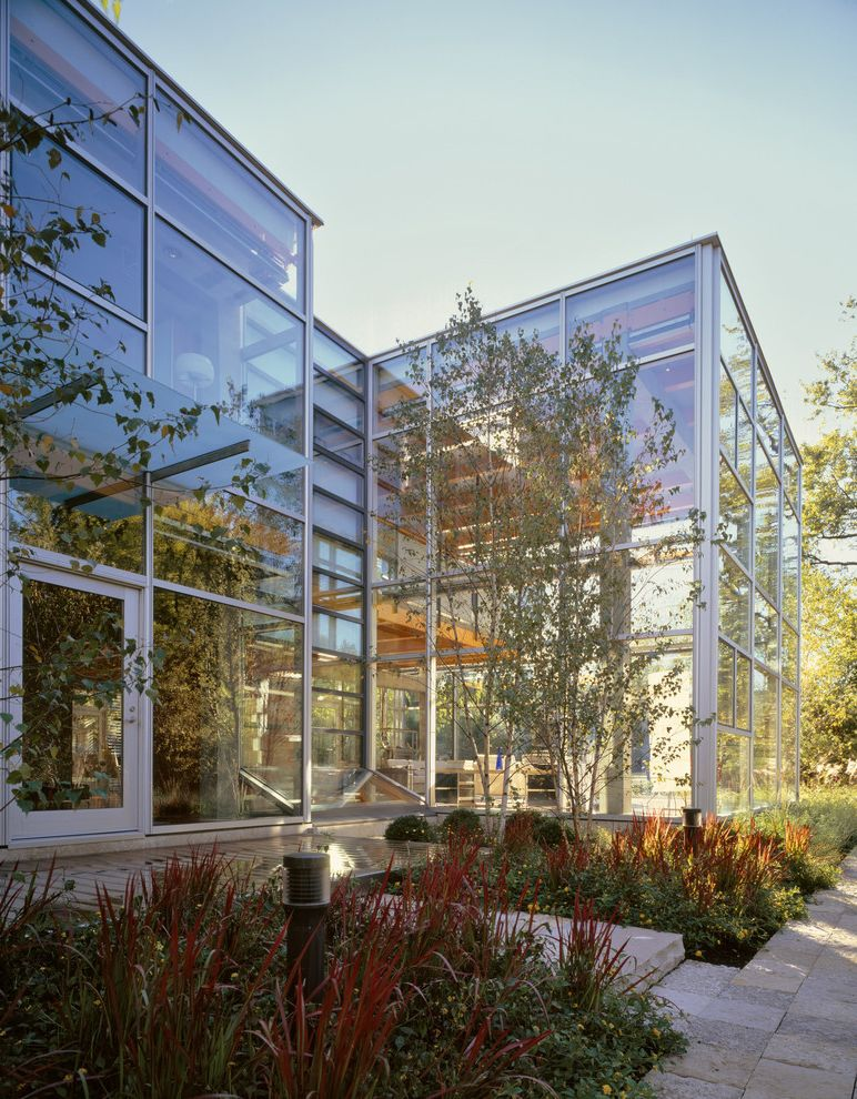 Smart Glass Seattle with Contemporary Exterior Also Corner Windows Cubes Entrance Entry Flat Roof Glass House Glass Wall Mass Planting Minimal Planters Roof Line Volumes