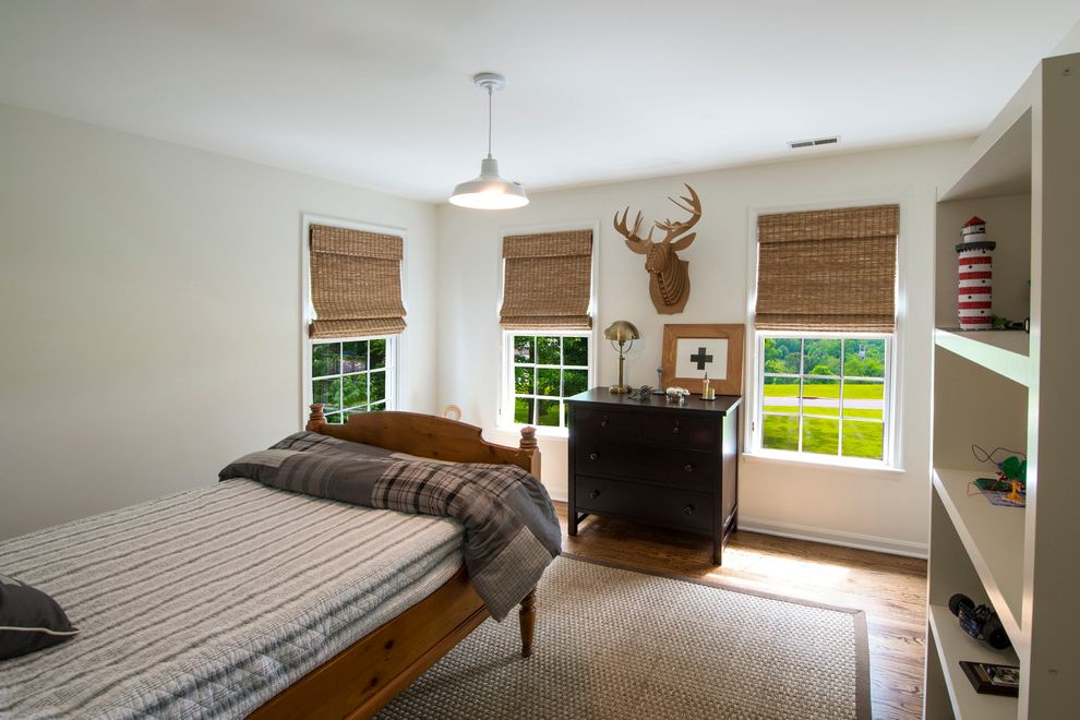 Soft Natural Fiber Rugs with Traditional Kids Also Barn Lamp Baseboards Cardboard Taxidermy Natural Fiber Rug Natural Fiber Window Treatments Plaid Bedding Quilt Shelves Twin Bed White Trim Wood Bed Wood Floors