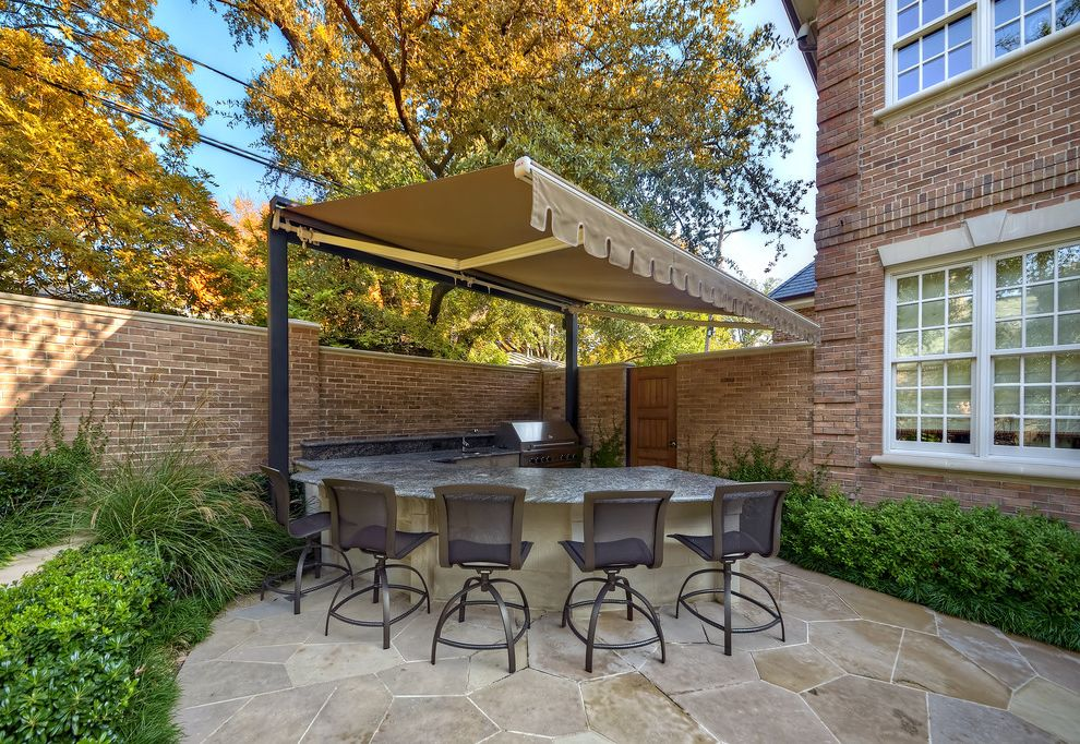 Stand Alone Patio Cover with Traditional Patio Also Barstools Bluestone Brick Wall Canvas Shade Flagstone Garden Landscape Outdoor Bar Outdoor Furniture Outdoor Grill Outdoor Kitchen Retractable Canvas
