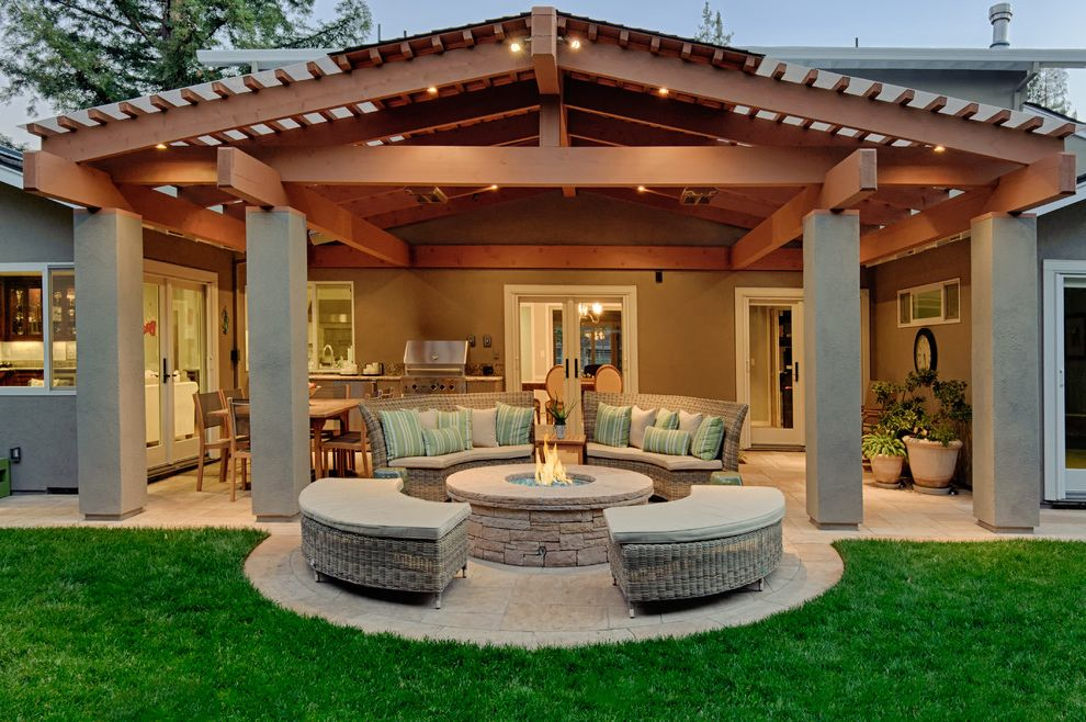 Stand Alone Patio Cover with Traditional Patio Also Covered Patio Glass Door Grass Lawn Stone Fire Pit Stone Patio Stucco Beam Stucco Exterior Stucco Post Stucco Siding White Trim White Window Trim Wicker Patio Furniture Wood Beam Wood Post