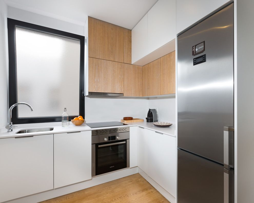Standard Refrigerator Dimensions with Scandinavian Kitchen Also Ceramic Stovetop Goosneck Faucet Obscured Glass Window Simplistic Two Tone Kitchen Cabinet