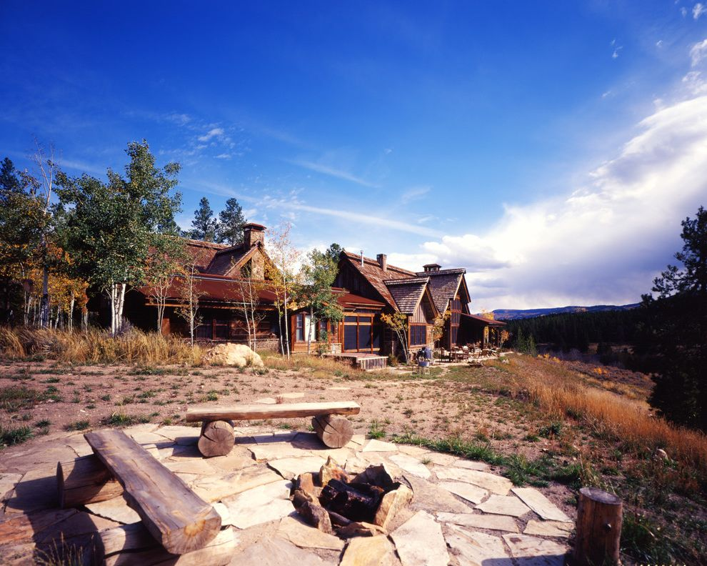 Stone Benches for Sale   Rustic Exterior Also Aspen Tree Backyard Fire Pit Beam Cabin Fire Pit Flagstone Log Bench Mountain House Mountains Overhang Pitched Roof Reclaimed Wood Round Patio Rustic Shingles Stone Chimney Stone Facade