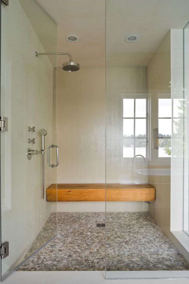 Stone Benches for Sale   Transitional Bathroom Also Bathroom Beach House Beach Residence Contemporary Glass Door Glass Shower Door Gray Floor Minimalism Modern Mosaic Tile Pebble Floor Shower Bench Stone Tile Wall Mount Shower White Walls Wood Bench