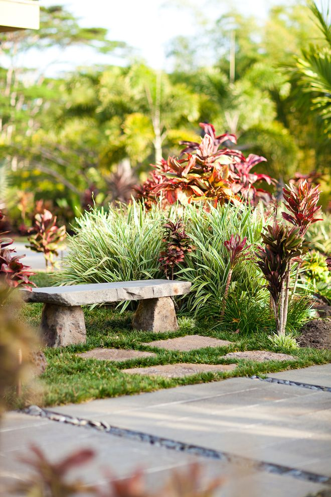 Stone Benches for Sale   Tropical Landscape Also Bushes Concrete Bench Concrete Pathway Concrete Walkway Garden Pavers Red Bushes River Rock Rock Shrubs Stepping Stones Stone Bench Stone Pavers